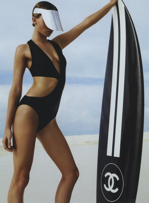 Carla Zampatti One-Piece. Chanel Surfboard.